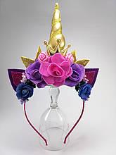 Единорог обруч для волос Золотой рог, корона и листья