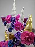 Єдиноріг обруч для волосся Золотий ріг з Рожевою короною Блакитний, фото 9