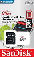 Карта памяти microSDHC 16Gb Class10 UHS-I SanDisk R80MB/s Ultra SD адаптер SDSQUNS-016G-GN3MA