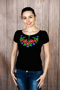 Изящная вышивка в черном цвете с коротким рукавом «Волошкове поле»