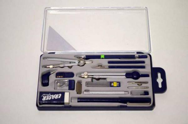 Готовальня на 15 предметов в пластиковой коробке А914, фото 2