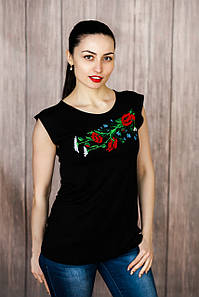 Черная вышитая футболка-майка без рукавов с растительным рисунком «Полевой букет» M