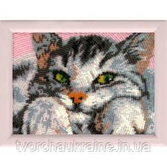 """Схема на ткани для вышивания бисером """"Котенок"""""""