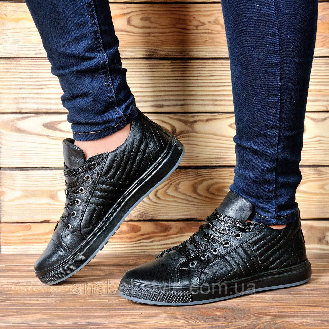 Кеды женские стильные из натуральной кожи черного цвета шнуровка Код 1740 AR