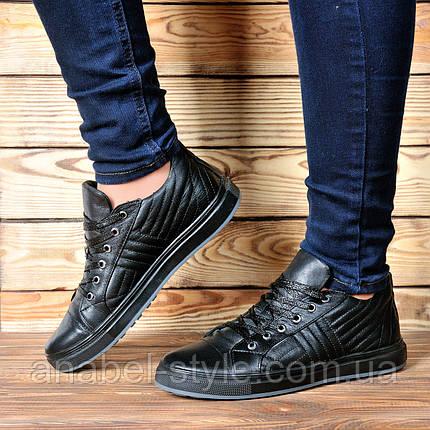 Кеды женские стильные из натуральной кожи черного цвета шнуровка Код 1740 AR, фото 2