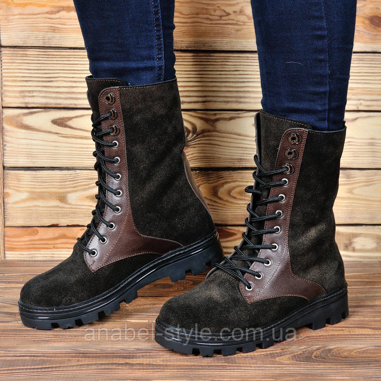 Берцы-ботинки женские из натуральной замши коричневого цвета шнуровка до верха весна-осень Код 1802-AR