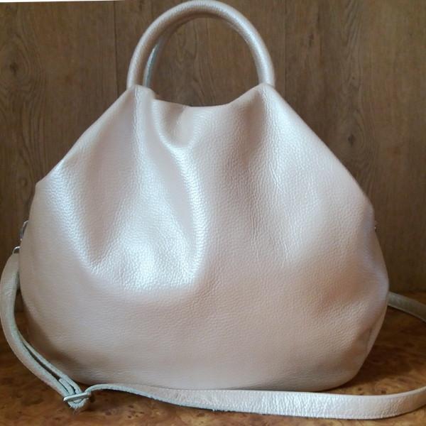 7a837295e4bb Замечательная женская сумка из мягкой натуральной кожи цвет перламутровая  пудра - Интернет-магазин стильных сумок