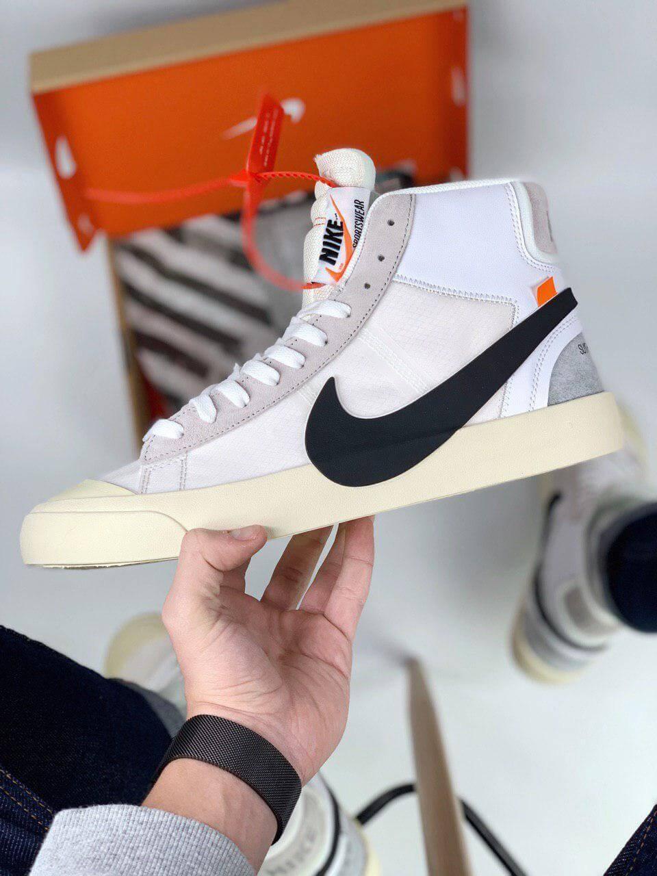Белые мужские кроссовки Nike Blazer Mid x Off White
