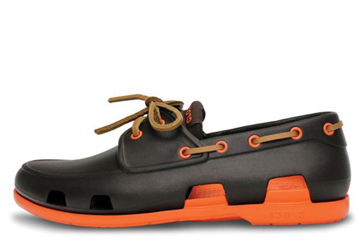 Оригинальные мужские сабо Crocs Beach Line Boat Brown Orange