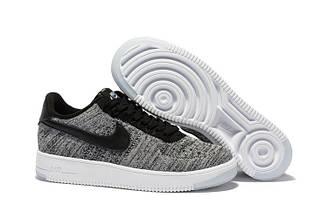 Кроссовки женские Nike Air Force 1 Low Flyknit Grey найк аир форсе 1 лоу серые