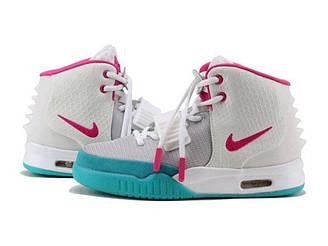 Оригинальные кроссовки женские Nike Air Yeezy 2 White Pink