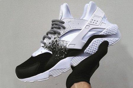 Оригинальные кроссовки женские Nike Huarache Custom White Black найк хуараче белые
