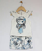 Moonstar Комплект футболка+шорти р2-5 кремовий/принт синій