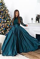 Вечернее женское платье в пол, цвета: черный, бордо, бирюза. Размеры: 42-44, 46-48.