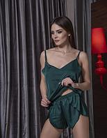 Шелковый пижамный комплект майка и шортики , Зеленый XL