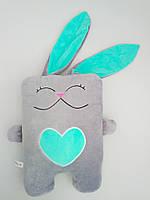 Мягкая игрушка подушка Strekoza Влюбленный Заяц 34см серый мятный, фото 1