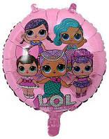 """Шары фольгированные круглые """"Куклы L.O.L розовый"""". Диаметр:18""""(45 см)"""