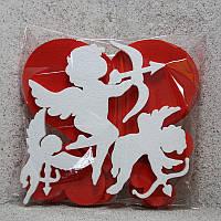 Сердце + Амуры из пенопласта, набор ассорти 3 с покраской