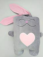 Мягкая игрушка подушка Strekoza Влюбленный Заяц 34см серый розовый, фото 1