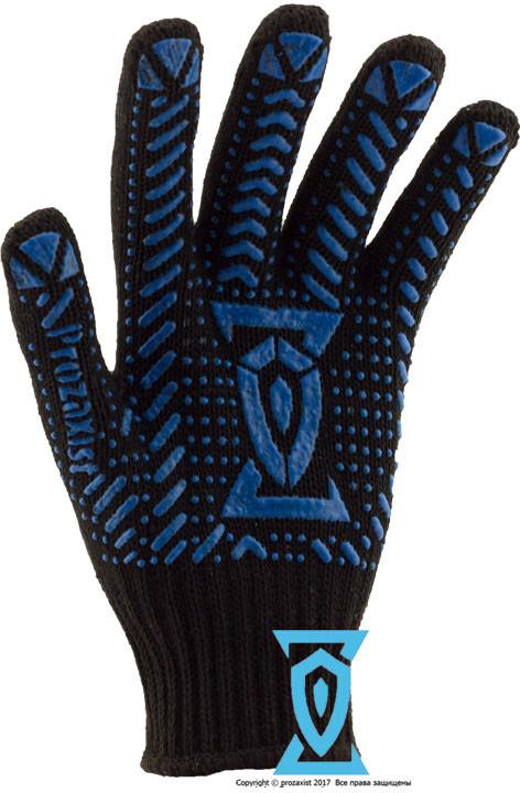 Перчатки рабочие синтетика черная с пвх покрытием (Украина)