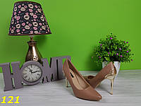 Туфли лодочки коричневые с металлическим каблуком, фото 1