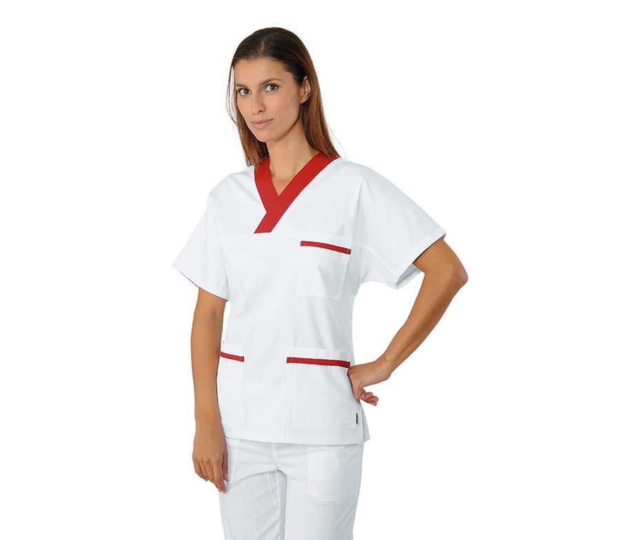 Медицинский костюм хирургический женский белый с красным- 03101