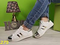 Кроссовки SuperStar белые с золотом, фото 1