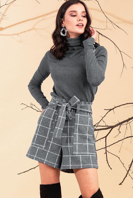 Теплые женские шорты в клетку. Модель 20310. Размеры 50-56
