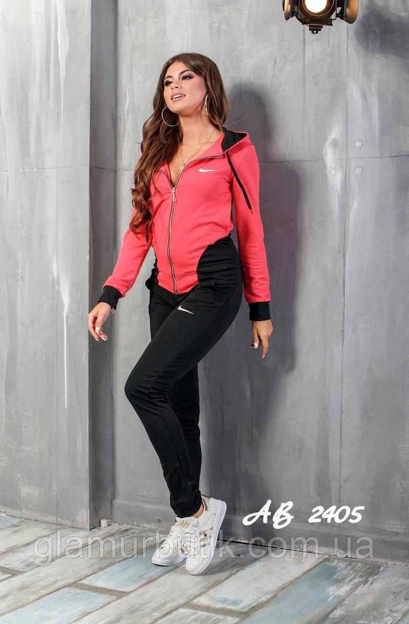5ce49ee7 Женский спортивный костюм двойка NIKE штаны кофта чёрный с красным S M L -  GlamurButik - женская одежда