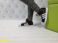 Кроссовки суперстар чёрные с брендовыми значками, фото 1