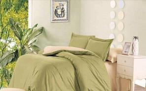 """Комплект постельного белья двуспальный """"Беж и оливка сатин"""""""
