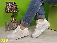 Кроссовки белые форсы с перфорацией дышащие, фото 1