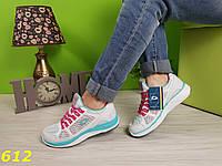 Кроссовки на толстой подошве белые с бирюзой, фото 1
