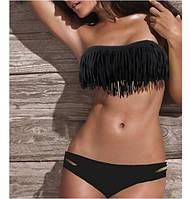Красивый утонченный бикини купальник с бахромой цвет черный