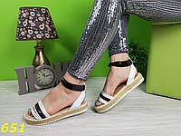 Босоножки сандалии на платформе соломенной низкий ход черно-белые, фото 1