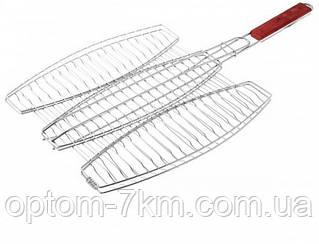 Решетка нержавеющая овальная для гриля - барбекю для 3-х рыб 400*370 мм EM-0133