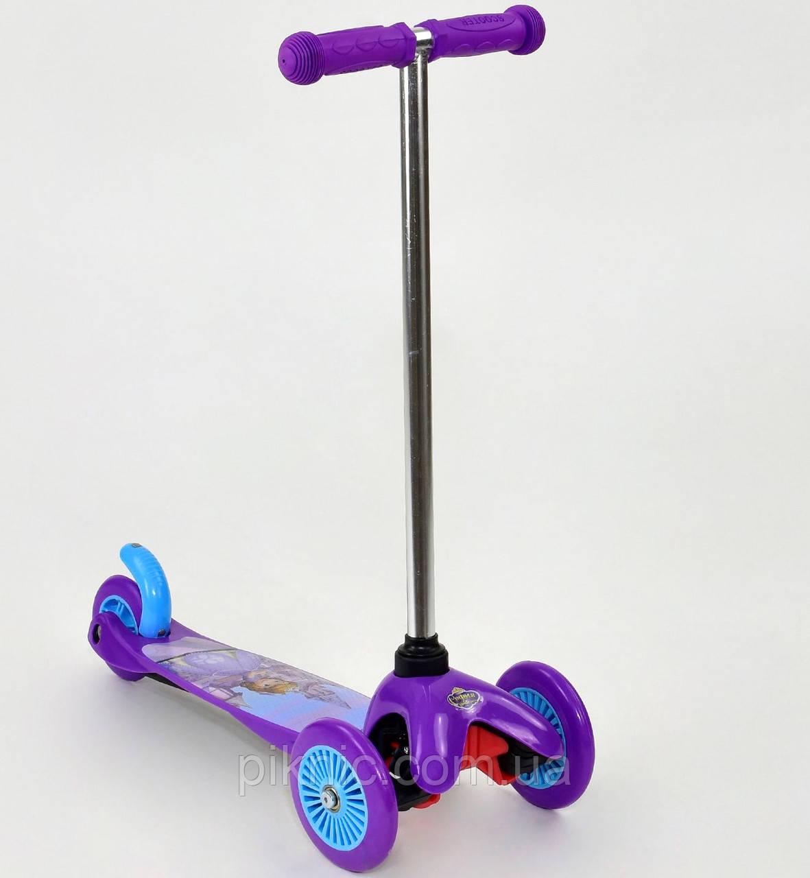Самокат трехколесный София для девочек 3-5 лет колёса PVC, переднее колесо d=12см, заднее d=9см