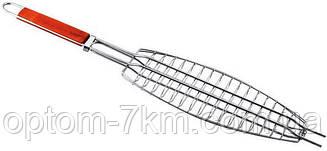 Решетка нержавеющая овальная для гриля - барбекю рыбы 375*150 мм EM-0104