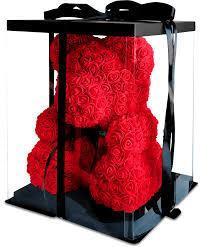 Мишка из роз в Подарочной упаковке (коробке), Красный,40 см