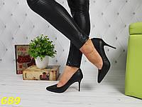 Туфли лодочки черные на удобном невысоком каблуке, фото 1