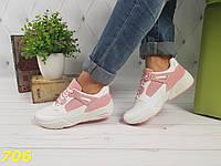 Кроссовки белые с розовыми вставками, фото 1