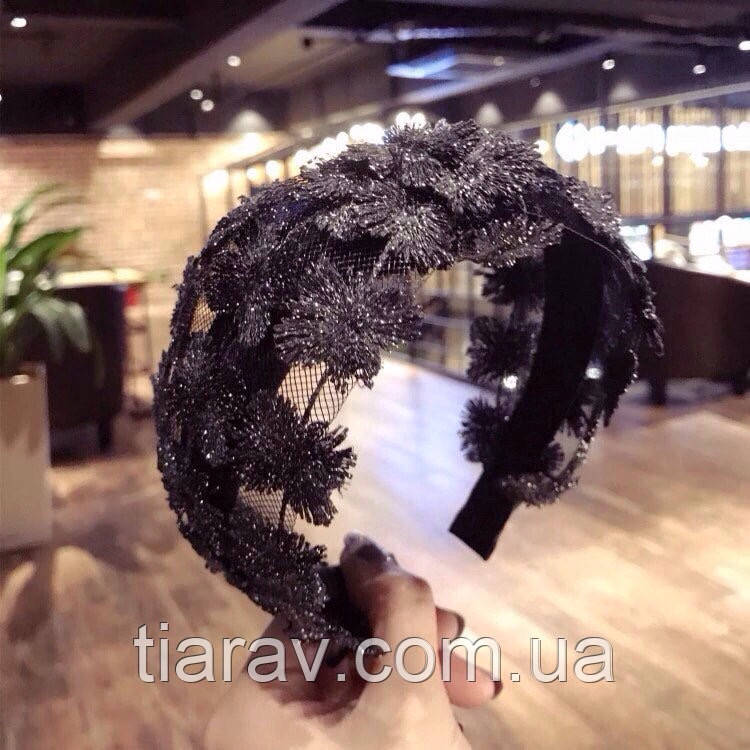 Обруч для волос широкий чёрный ободок чалма