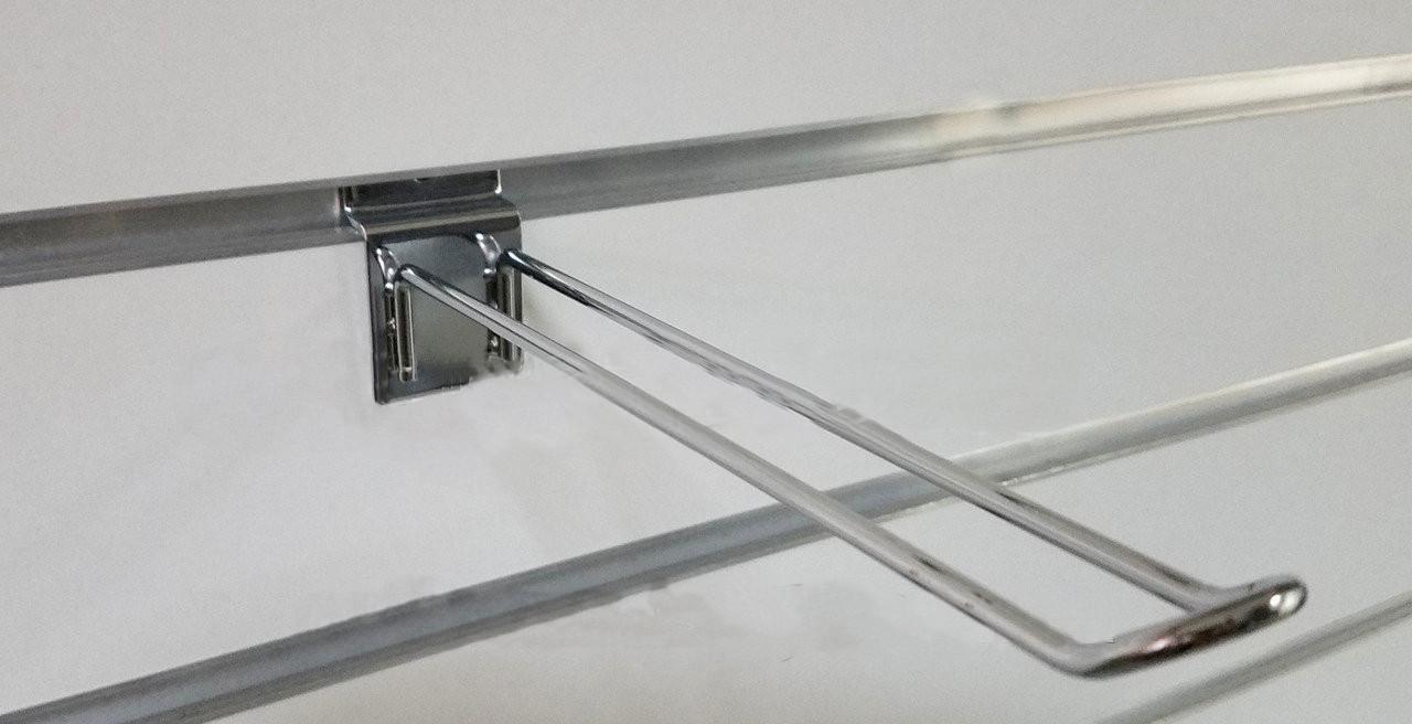 Гачок (крючок) хром  подвійний розміром 200мм в торговою економпанель