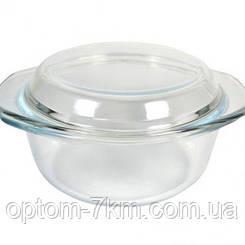 Кастрюля стеклянная жаропрочная с крышкой  900 мл EM-1863