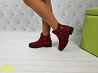 Ботинки зима на низком ходу с лентой цвет марсала бордо, фото 1