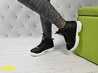 Высокие кроссовки фила черные на белой подошве зима, фото 1