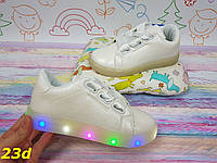 Детские кеды кроссовки с ленточками светящиеся Led подсветка, фото 1