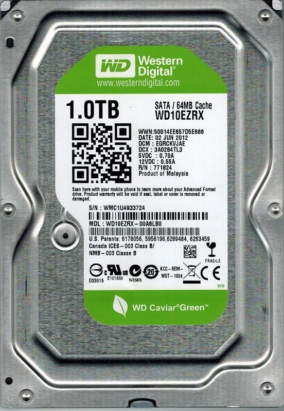 "Жесткий диск Western Digital Green 1TB 5400rpm 64MB WD10EZRX 3.5 SATA III ""Over-Stock"" Б/У"