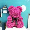 Мишка из роз в Подарочной упаковке (коробке), Розовый, 40 см, фото 6