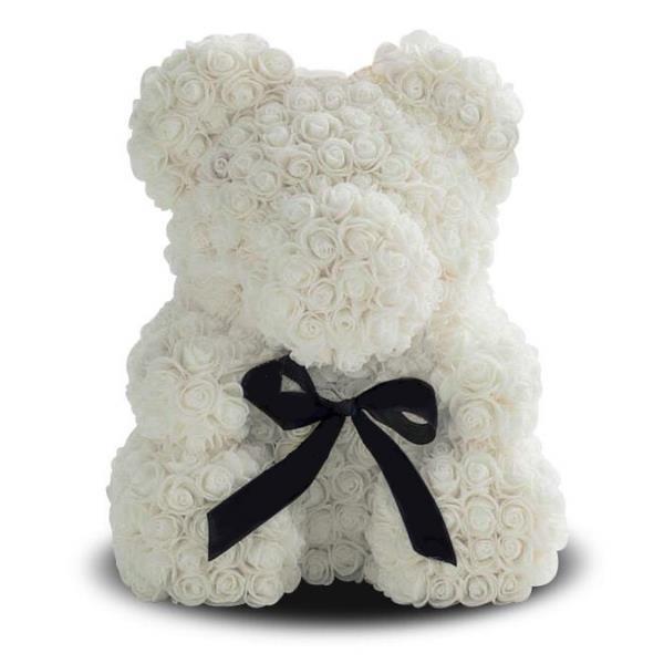 Мишка из роз в Подарочной упаковке (коробке), Белый, 40 см